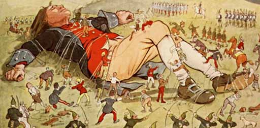 Really famous image of the Lilliputians binding Gulliver
