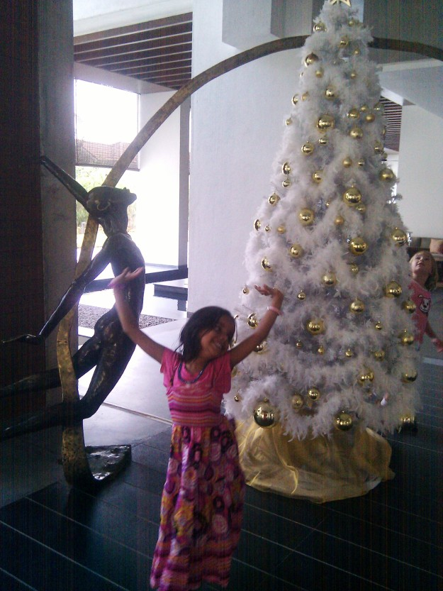 A happy jig in front of the Christmas tree