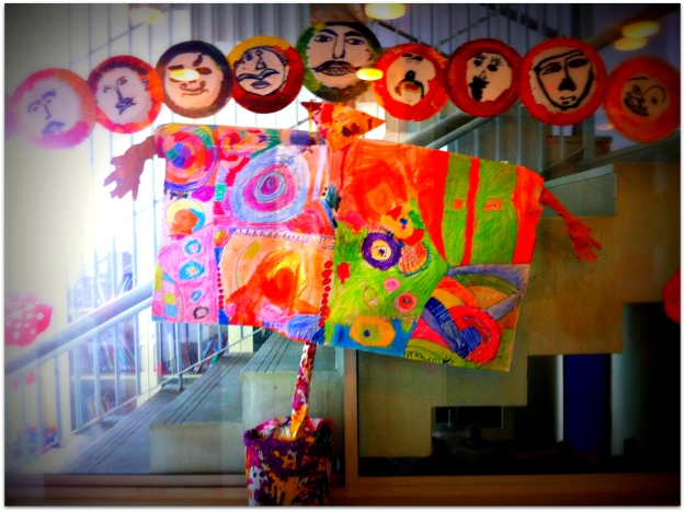The ten heads of Raavan done by the snubnose and her class mates. The ten heads are actually paper plates